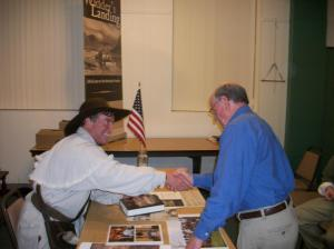 Eddie Price with Historical Society board member Jim Harris